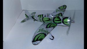 Soda can plane pattern P-47 Thunderbolt